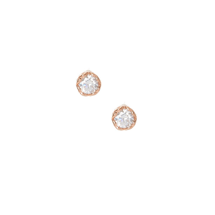 Mini Gold Plated Crystal Heart Rimmed Earrings,