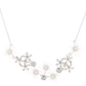 Silver Frosted Flower Statement Necklace - White,