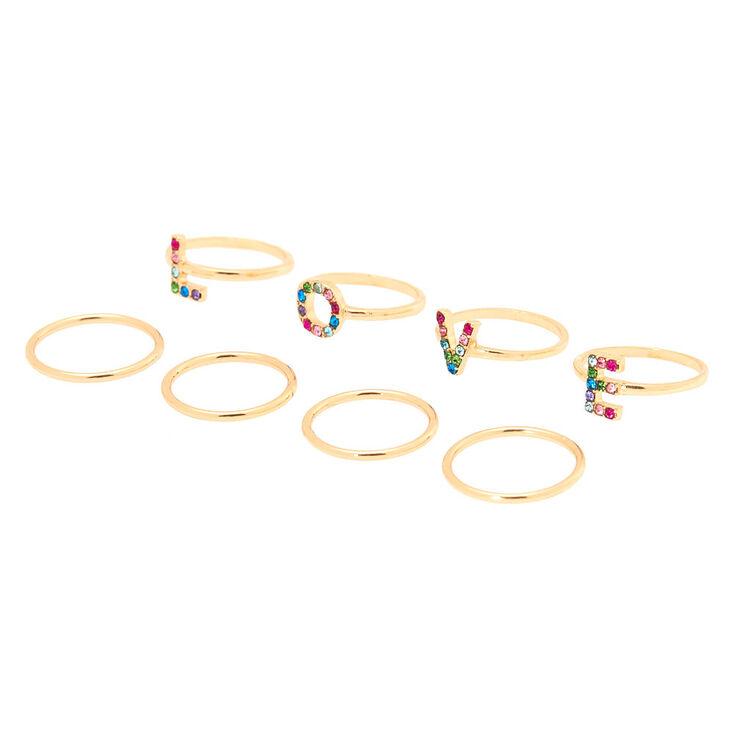Gold Rainbow Love Ring Set - 8 Pack,
