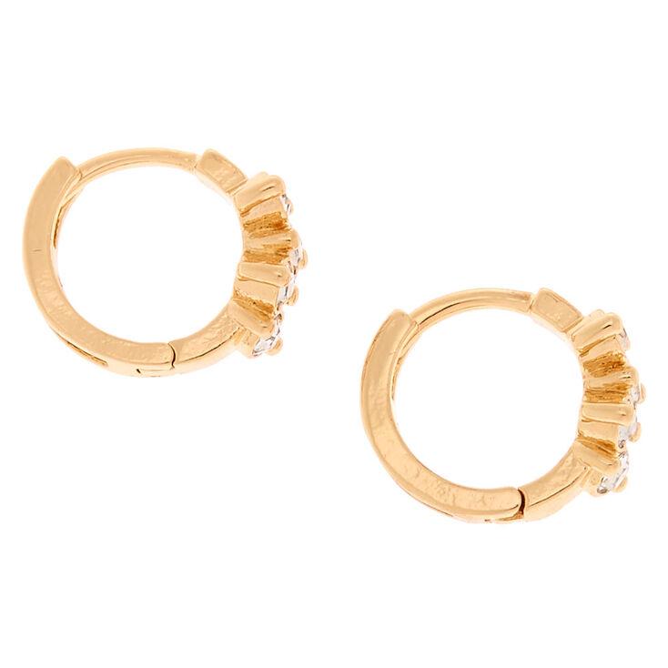 Gold 10MM Fancy Embellished Huggie Hoop Earrings,