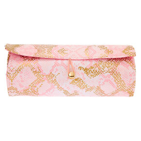 Snakeskin Roll Out Travel Makeup Bag - Pink,