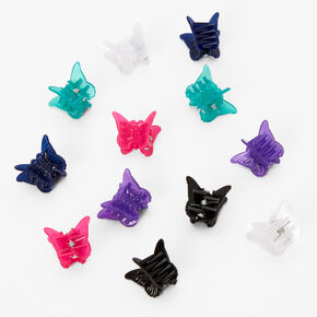 Blue, Pink & Purple Butterfly Mini Hair Claws - 12 Pack,