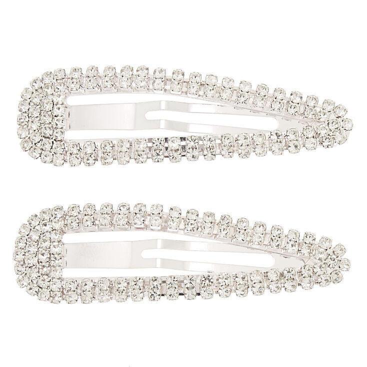 Silver Rhinestone Snap Clips - 2 Pack,