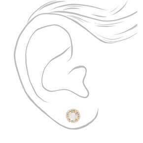 Gold Crystal Stud Earrings,
