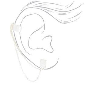 Silver Moon Stone Connector Earrings,