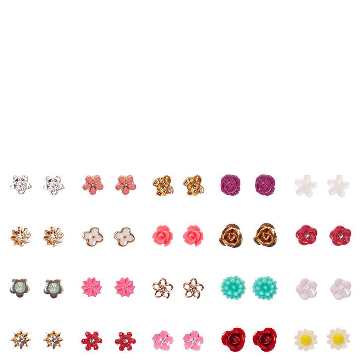 Tiny Flower Stud Earrings Set of 20,