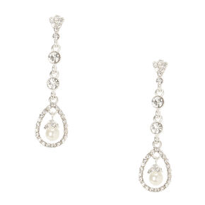 Crystal & Pearl Swing Drop Earrings,