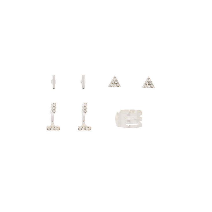 Silver Stud Earrings, 3 Pack + Free Ear Cuff,