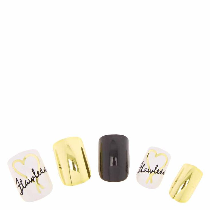 Flawless Gold & Black Instant Nails,