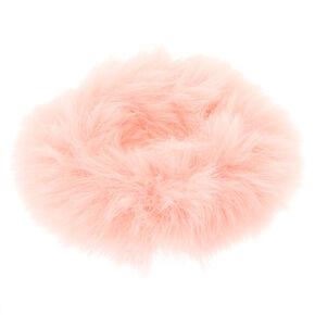 Medium Faux Fur Hair Scrunchie - Blush Pink,