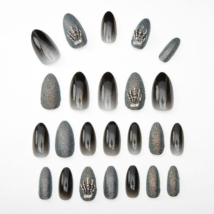 Skeleton Hand Ombre & Glitter Stiletto Faux Nail Set - Black, 24 Pack,