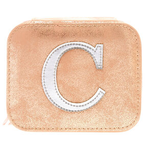 "Blush Pink ""C"" Initial Jewelry Case,"