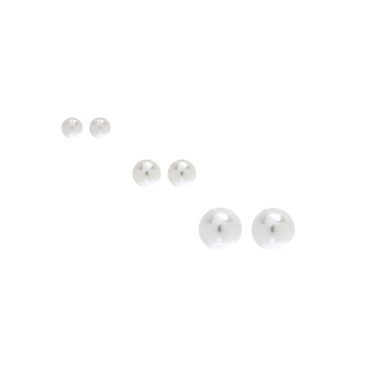 Sterling Silver Ivory Pearl Studs 3 Pack,