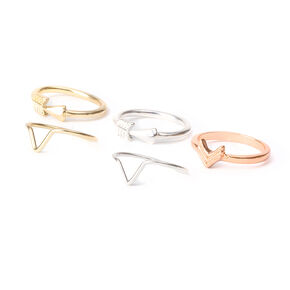 Mixed Metal Geometric Arrow Midi Rings  - 5 Pack,