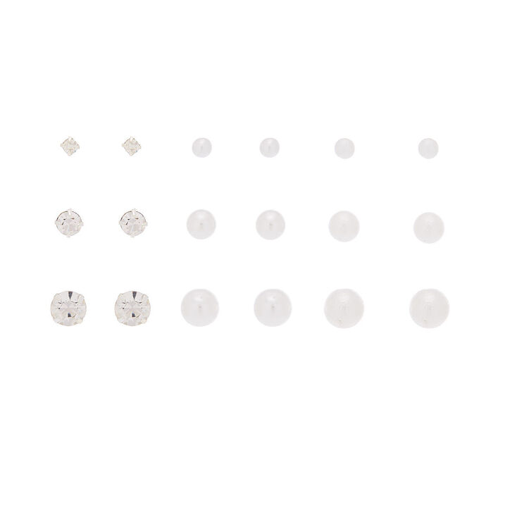 Graduated Stud Earrings - 9 Pack,