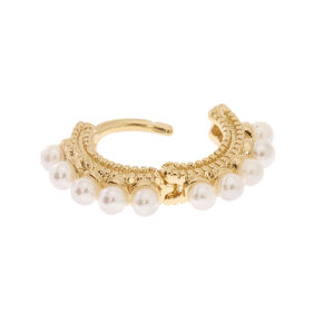 Gold Pearl Daith Earring,