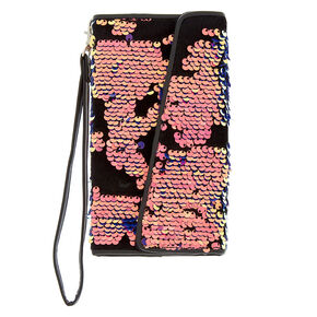 Velvet Reverse Sequin Folio Phone Case - Black,