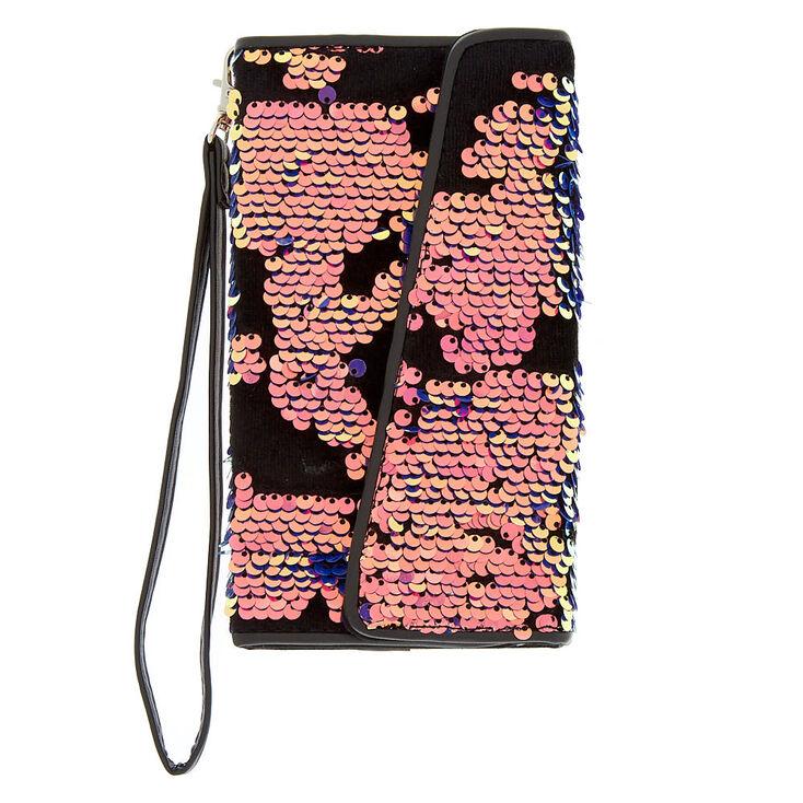 Velvet Reverse Sequin Folio Phone Case - Black,