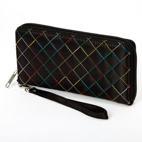 Rainbow Stitched Quilted Wristlet - Black,