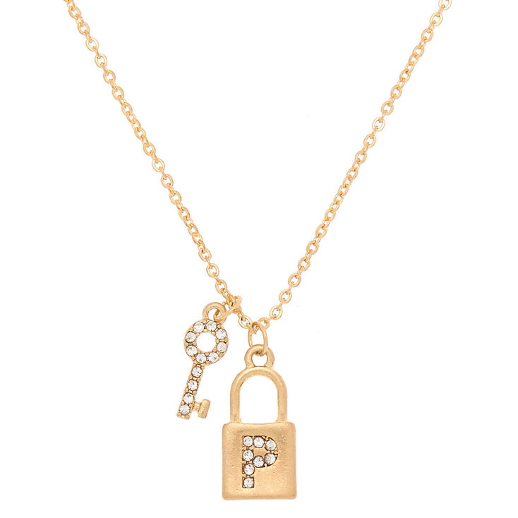 Gold Lock & Key Initial Pendant Necklace - P,