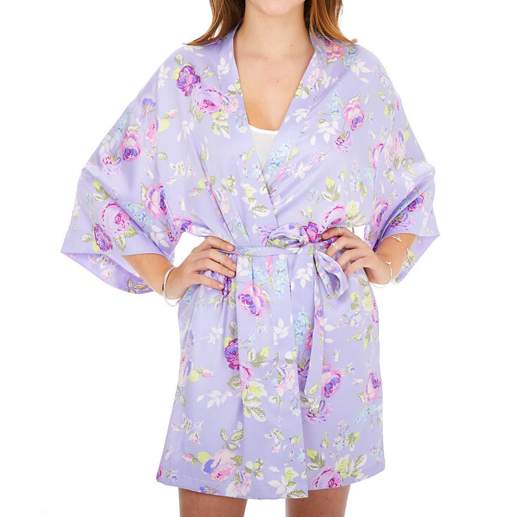 Vintage Nightgowns, Pajamas, Baby Dolls, Robes Icing Purple Floral Satin Robe - SM $34.99 AT vintagedancer.com