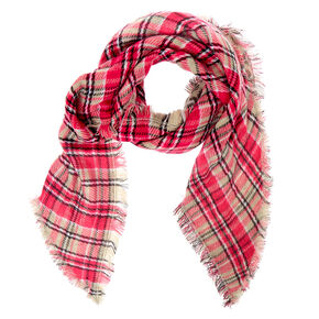 Plaid & Leopard Oversized Scarf - Pink,