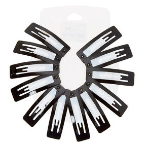 Square Snap Hair Clips - Black, 12 Pack,