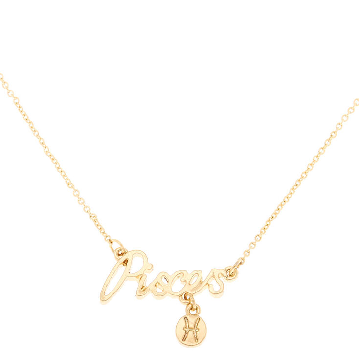 Gold Zodiac Pendant Necklace - Pisces,