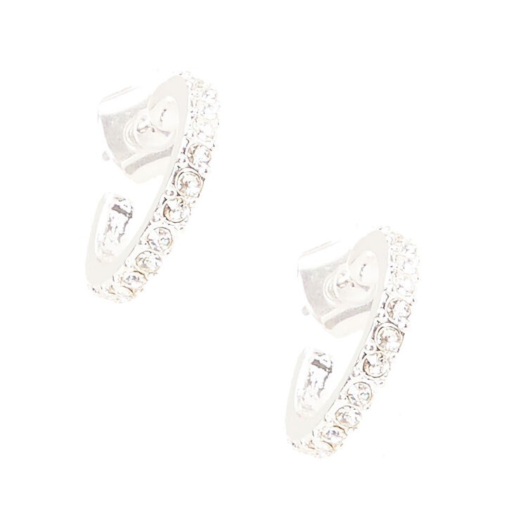 Silver Tone Rhinestone Studded Mini Hoop Earrings,