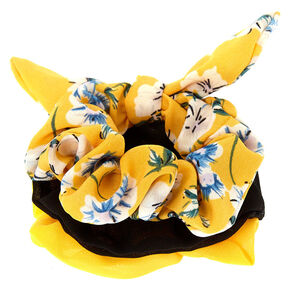 Floral Tie Scrunchies - Yellow, 3 Pack,