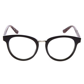 Leopard Round Clear Lens Frames - Black,