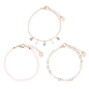 Rose Gold Beaded Heart Chain Bracelets - Blush Pink, 3 Pack,