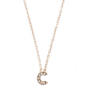 Rose Gold Embellished Initial Pendant Necklace - C,