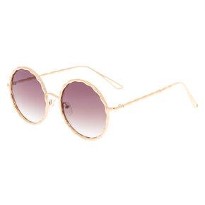 Round Gold Textured Sunglasses,