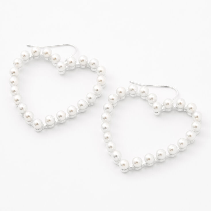 """Silver 1.5"""" Pearl Open Heart Drop Earrings,"""