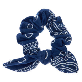 Paisley Print Bandana Bow Hair Scrunchie - Navy,
