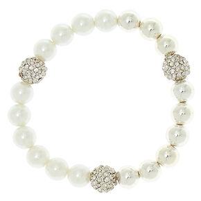 Silver Pearl Stretch Bracelet,