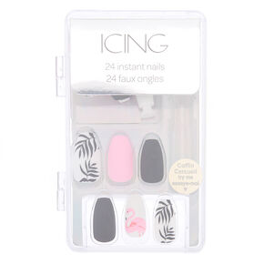 Matte Flamingo Faux Nail Set - 24 Pack,