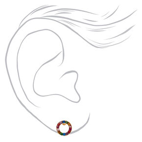 18kt Gold Plated Rainbow Circle Stud Earrings,