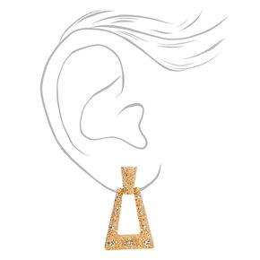 """Gold 1"""" TriangleTextured Door Knocker Drop Earrings,"""