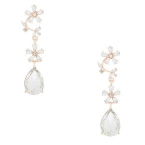 "Rose Gold 2"" Rhinestone Vine Drop Earrings,"