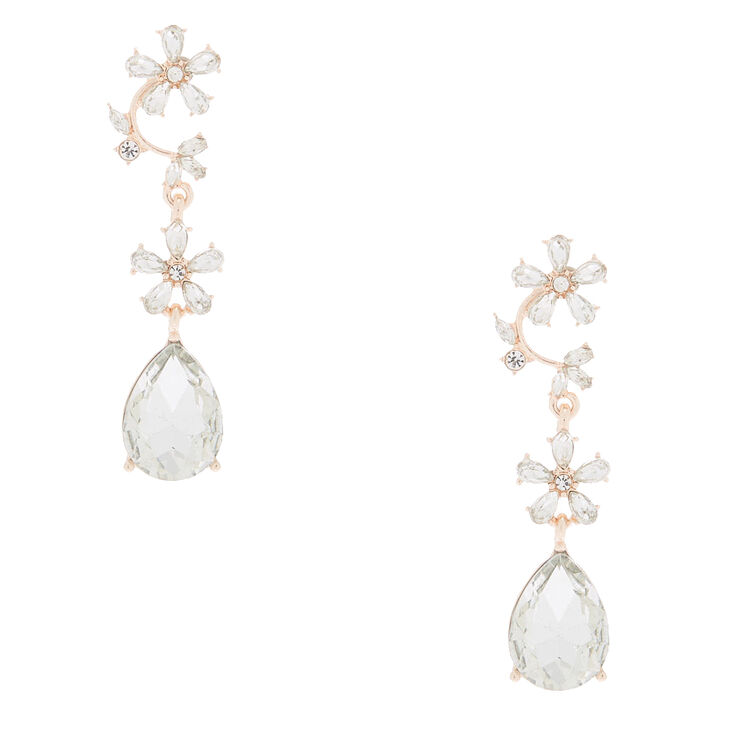 "Rose Gold 2"" Rhinestone Vine Drop Earrings,"