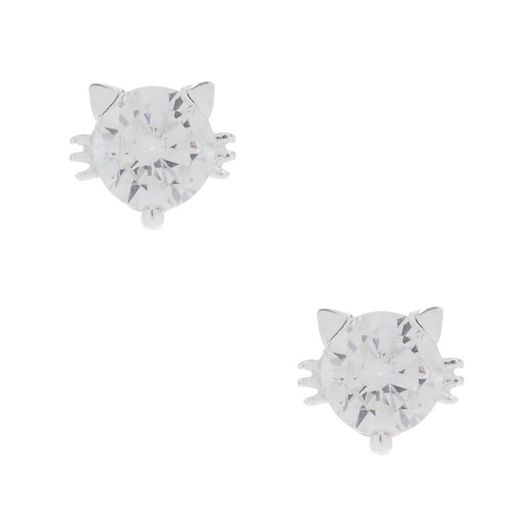 5MM Sterling Silver Cubic Zirconia Cat Earrings,