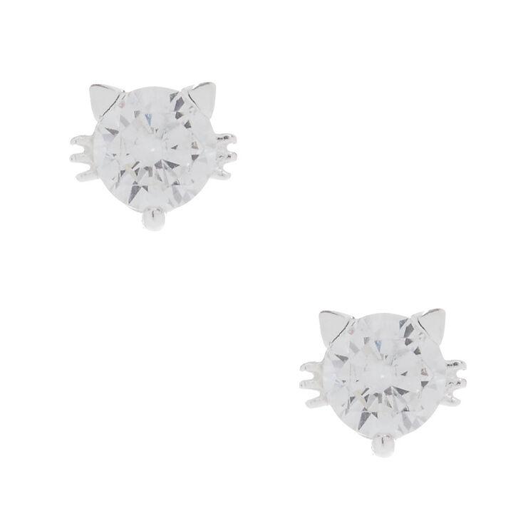 5MM Sterling Silver Cubic Zirconia Cat Earrings,