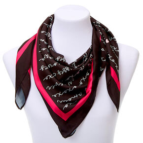 Square Love Script Fashion Scarf - Black,