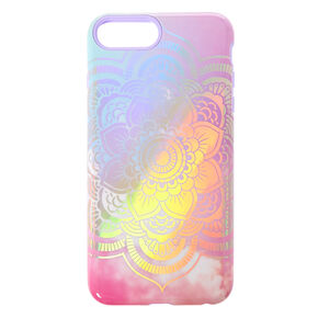 Pastel Holographic Mandala Protective Phone Case - Fits iPhone 6/7/8 Plus,