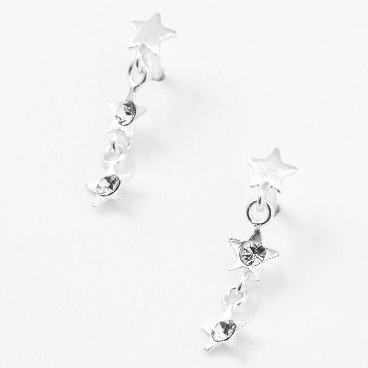 """Sterling Silver 1"""" Embellished Star Linear Drop Earrings,"""