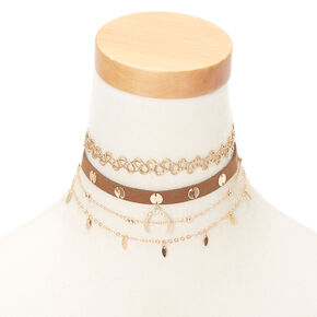 Gold Festival Choker Necklaces - 4 Pack,