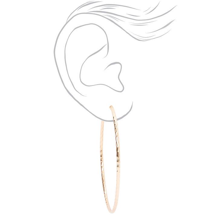 Mixed Metal 60MM Textured Clip On Hoop Earrings - 3 Pack,