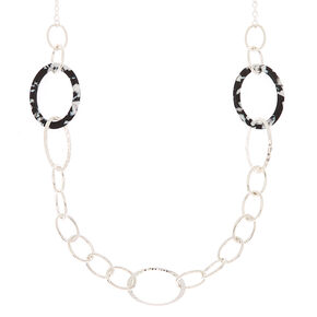 Silver Resin Link Long Necklace - Black,